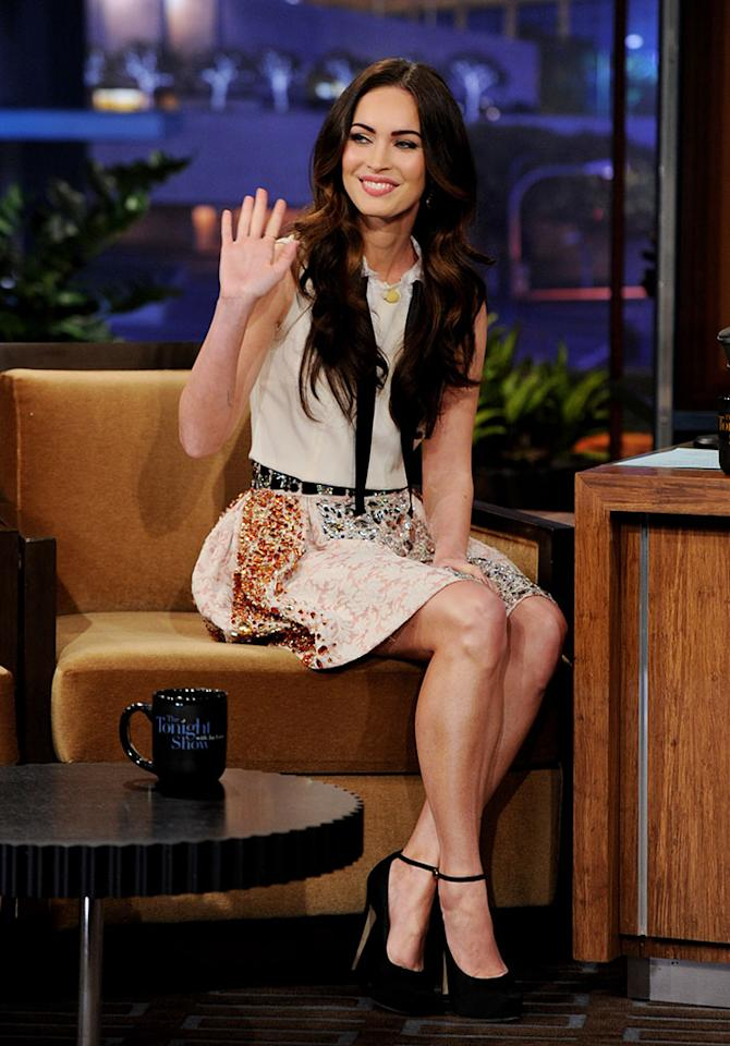 Megan Fox appears on the Tonight Show With Jay Leno at NBC Studios on February 27, 2012 in Burbank, California.