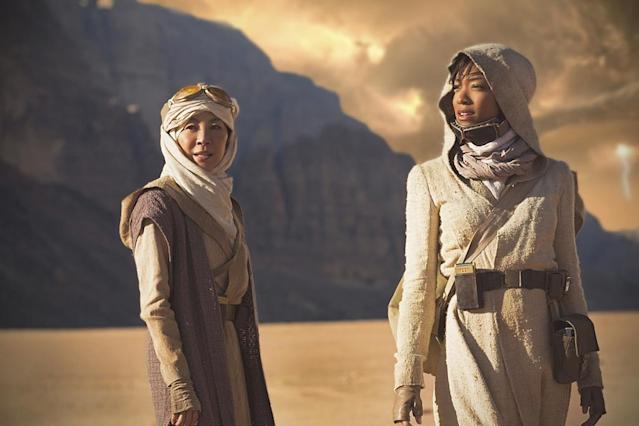 <p>Michelle Yeoh as Captain Philippa Georgiou and Sonequa Martin-Green as First Officer Michael Burnham in CBS's <i>Star Trek: Discovery</i>.<br><br>(Photo: Dalia Naber/CBS) </p>