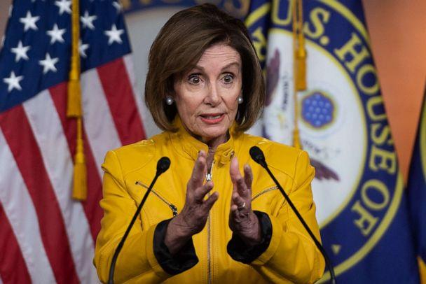 PHOTO: Speaker of the US House of Representatives Nancy Pelosi speaks to the press on June 13, 2019, during her weekly press conference on Capitol Hill in Washington. (Saul Loeb/AFP/Getty Images)