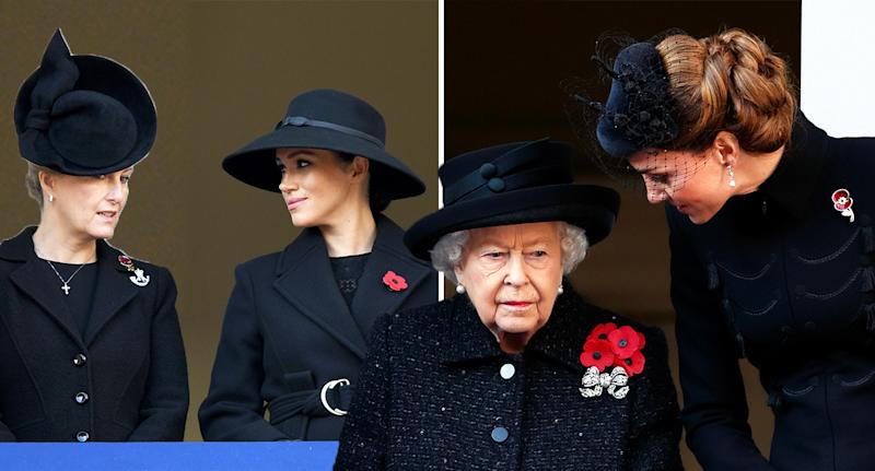 The Duchess of Cambridge and the Duchess of Sussex were positioned on different balconies for yesterday's Remembrance Service [Photo: Getty]