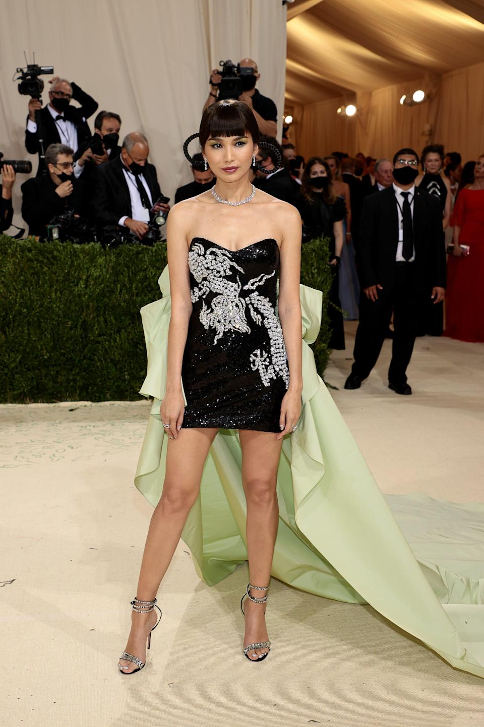 """Gemma Chan attends the 2021 Met Gala celebrating """"In America: A Lexicon Of Fashion"""" at the Metropolitan Museum of Art on Sept. 13, 2021, in New York City."""