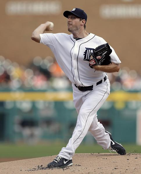 FILE - In this June 17, 2013, file photo, Detroit Tigers pitcher Max Scherzer throws to a Baltimore Orioles batter during a baseball game in Detroit. Scherzer won the American League Cy Young Award on Wednesday, Nov. 13, 2013. (AP Photo/Paul Sancya, File)