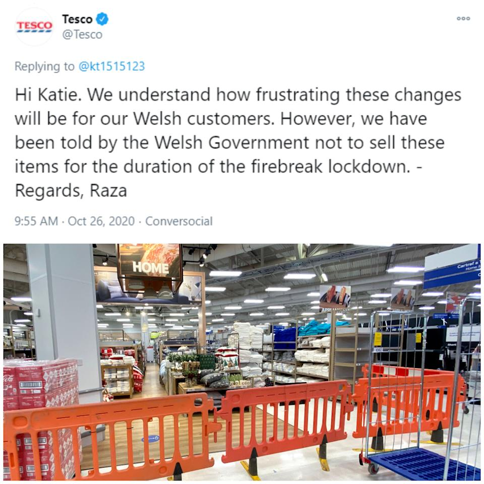 Tesco has apologised after it mistakenly prevented customers from buying sanitary products as part of new lockdown measures in Wales.