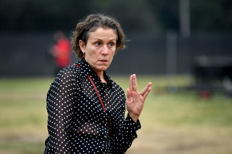 """Frances McDormand -- seen here in September 2020 at the drive-in premiere of """"Nomadland"""" at the Rose Bowl in Pasadena, California -- is expected to be a major awards contender"""
