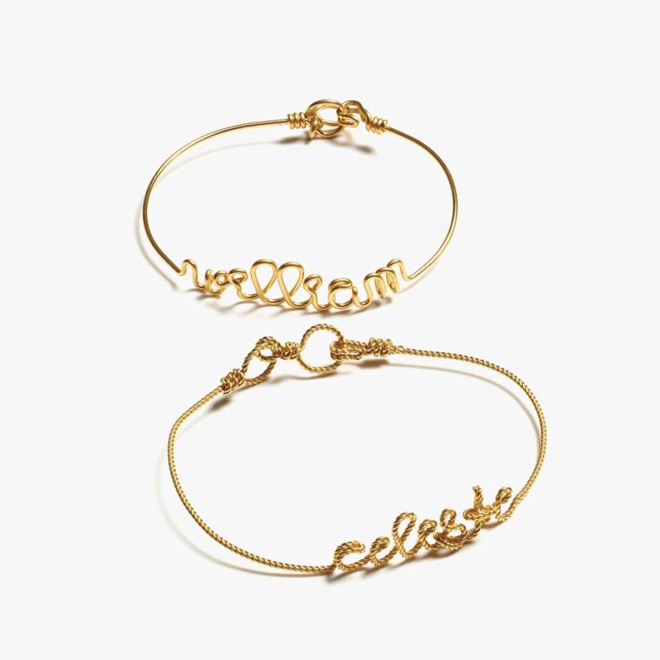 "$370, NEIMAN MARCUS. <a href=""https://www.neimanmarcus.com/p/atelier-paulin-personalized-5-letter-twist-wire-bracelet-yellow-gold-fill-prod211750102?childItemId=NMY49N9_"" rel=""nofollow noopener"" target=""_blank"" data-ylk=""slk:Get it now!"" class=""link rapid-noclick-resp"">Get it now!</a>"