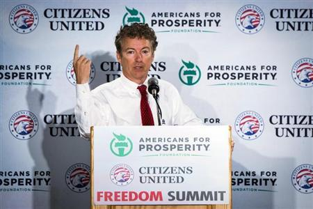 Senator Rand Paul speaks during the inaugural Freedom Summit meeting in Manchester, New Hampshire
