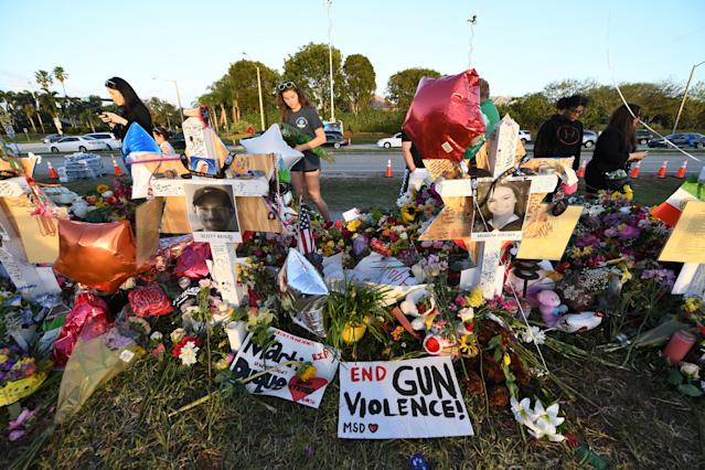 <p>A General view of a make shift memorial after the Stoneman Douglas High School Shooting on February 22, 2018 in Parkland, Fla. (Photo: MPI04/MediaPunch/IPX/AP) </p>