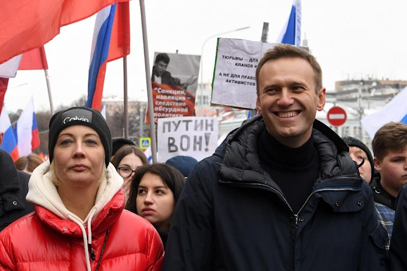 Russian opposition leader Alexei Navalny, pictured here with his wife Yulia, has filed numerous complaints with the European Court of Human Rights on behalf of himself and others (AFP Photo/Kirill KUDRYAVTSEV)