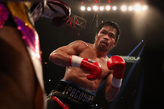 Manny Pacquiao fights Adrien Broner during the WBA welterweight championship at MGM Grand Garden Arena on Jan. 19, 2019 in Las Vegas. (Getty Images)