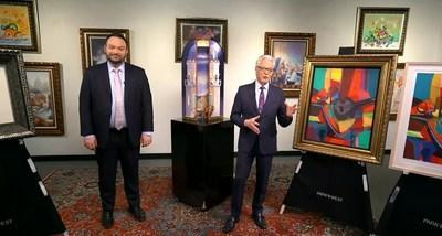Park West Executive Vice President John Block and Gallery Director Morris Shapiro appear alongside original art by Peter Nixon and Marcel Mouly.