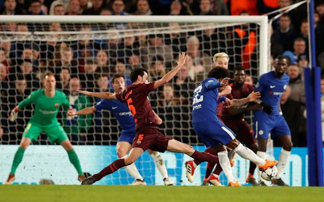 "9:39PM FULL TIME Chelsea punished by Lionel Messi, the greatest football in the known universe, after playing a near-perfect defensive 90 minutes. That away goal could, and likely will prove crucial. As for the individual stars: Hazard was excellent for Chelsea but Messi is on a different level. Willian caught the eye too - after a performance like that it's amazing that he starts so many games on the bench. 9:36PM 90 mins +3 Morata is penalised for handball when it looked more like he'd just swung a leg at the thing and gotten away with a bad touch. He briefly considers shouting about it and then remembers that he's already on a yellow card. A yellow card for shouting about something. 9:33PM 90 mins +1 Busquets trips Hazard with a cynical foul and is booked. 9:32PM 90 mins Incredibly, against all odds, Suarez and Alba are both fine to continue. 9:31PM 89 mins Alba pulls off a lovely little bit of skill and has his heel clipped. Suarez is tackled by Drinkwater. Both are rolling around the floor in mortal danger. Somebody please pray for these wounded soldiers. [/sarcasm] 9:29PM 87 mins Hazard wins a free-kick 30 yards out. Willian will put it into the area. Or will he?! No. Because he passes short to Hazard, who goes back to Willian, who finds Moses. Moses hacks at his shot and puts it straight out for a goal kick. Morata is booked for dissent, convinced it should be a corner. 9:27PM 85 mins Fabregas off for Drinkwater. That makes sense to put some energy in the midfield for the final few minutes - Chelsea cannot afford to concede another away goal! Possession: Chelsea vs Barcelona 9:25PM 83 mins Chelsea vs Barcelona Umtiti gives away a corner after Willian bursts forward at high speed on the counter-attack. It's taken quickly but Christensen's header back across the box doesn't find a teammate. Pedro off, Morata on for Chelsea. 9:24PM 81 mins Rudiger puts a heavy challenge on Roberto, putting his foot over the top of the ball into Roberto's standing leg with full force while the Barcelona player was running at full pace. That could so easily have ended horribly. Instead, Rudiger is booked and Busquets tells him off. That's about it. Roberto is fine to continue. 9:22PM 79 mins Suarez was booked in the aftermath of that goal for moaning about not being given a penalty before it. He had his heels clipped accidentally by Rudiger while running into the box, and threw himself to the ground immediately. Boooooo. 9:20PM GOOOOOOOOOOAAAAAAAALLLLLLLLL! Messi scores It's the first real mistake Chelsea have made all game and they've been punished! Christensen passes across his own defensive third, misses everyone and Iniesta runs onto it and has the chance to shoot... but passes back across to Messi, who sends Courtois the wrong way and finishes into the bottom corner. Chelsea 1 - 1 Barcelona (Lionel Messi, 75 min) 9:17PM 74 mins Credit: REUTERS Chelsea have a break on! Barcelona just cannot find space in behind to pass and are being forced to ping the ball about in front of two walls of Chelsea defenders. 9:15PM 72 mins Dembele is warming up on the touchline. Willian has to get more treatment on his bleeding face. 9:13PM 70 mins All of a sudden it looks like Chelsea might have men over on the counter-attack. Willian takes a half second too long to play a pass into the box - if he had done, Kante was one on one with the goalkeeper. Willian goes down to receive some treatment for a bleeding nose. And when I say treatment I mean sitting down with some tissues. 9:10PM 67 mins Messi is conducting play from a position between the Chelsea and defence, spraying passes around. Barcelona up the tempo of their passing. Messi gets the ball on the edge of the area and about three defenders follow him instantly to stop the shot. A stop-start doesn't fool them... Chelsea block. 9:07PM 65 mins Paulinho off, Aleix Vidal on. That should give Barca a little more on the right wing and let Roberto take up more central positions. 9:07PM GOOOOOOOOAAAAAAAAAAAAAAAAAALLLLLL! Willian goal Brilliant from Willian! The corner is taken quickly, Fabregas finds Hazard, who ducks inside and passes to Willian. He stops then starts and out of nothing, has space to shoot. A hard, low shot curls into the bottom corner - Ter Stegen had no chance! Chelsea 1 - 0 Barcelona (Willian, 62 min) 9:04PM 62 mins Messi finds Iniesta, who scoops the ball over the defence into the path of Alba's run. Moses cuts it out but accidentally heads behind and it's a corner again.... but Courtois catches easily. He looks long again and this time Hazard can control. Chelsea move up the pitch... take their time and work passes around the final third. Fabregas takes a half chance to shoot and conjures a corner from very little. 9:02PM 60 mins Courtois catches the corner, kicks the ball long looking for Hazard... and Barcelona have the ball again. 9:02PM 59 mins Suarez gets involved, takes a pass form Iniesta (after a frankly ridiculous first touch took iniesta past a tackle) and bursts away to the left of the box, He turns back and then Cruyff turns Christensen, winning space to cross into the middle. Corner. 9:00PM 56 mins Chelsea keeping things tight but they just cannot keep hold of the ball. Possession: Chelsea vs Barcelona 8:57PM 53 mins Credit: GETY IMAGES Morata is warming up on the sidelines. Barcelona enjoying most of the possession... Iniesta chases a loose ball now and finds Suarez. He runs in behind and shoots from a wide angle... saved by Courtois! That was a superb effort considering where he took it on! Attempt Saved: Chelsea 0 - 0 Barcelona (Luis Suárez, 53 min) 8:54PM 51 mins Great defending from Chelsea. Pedro tracks back to stop Messi turning everyone inside out, Paulinho blocks him, Fabregas tidies up and they work the ball forward. Hazard has his back to goal in the penalty area and goes down! Umtiti is tight to him... is that a penalty? The referee isn't interested. 8:52PM 49 mins Iniesta works hard by the Chelsea box to try and link the play but Azpilicueta is superb at the back and holds him off. He's playing further forward in this half and gets onto the ball again shortly after, deciding to lash a shot from distant at goal but slicing it way wide and high. 8:50PM 47 mins Barcelona start the second half the same way as the first, passing around the back. They get into Chelsea's half more urgently though and Roberto over hits a cross from wide right, which very nearly turns into a shot to the top corner! 8:48PM KICK OFF 2 chelsea kick off 2 We're back! How long until the deadlock is broken? Will it? Nobody knows! 8:44PM Chelsea staying nice and compact Chelsea are making the pitch as small as possible when defending and forcing Barcelona to pass around the final third from side to side looking for an opening. The danger is that at some point soon Messi or Iniesta are going to figure out a way to get a shot or through-ball away and the defence needs to be constantly aware as Messi in particular drifts from man to man. Both teams have defended pretty well and restricted the other to creating chances from quick turnovers. Willian's two shots were superb efforts but you can't plan to score from 25 yards against anyone, it's a welcome addition to the scoreline but generally, teams win games when they get the ball into the box for shots. I can see Conte bringing on one of his strikers after the 60th minute to offer an out ball and let Willian and Hazard run off him. It'll just take Barcelona to overcommit and a quick counter-attack could yield that one vital opening to score on the break. 8:32PM HALF TIME That's been ace to watch. Chelsea backed off until they felt a bit safer coming out of their hiding place and now it's finely poised. Hazard, Willian, Busquets and Messi have all been fantastic. 8:31PM 45 mins Stamford Bridge is noisy and Chelsea are growing into the match. Chelsea vs Barcelona shots on goal 8:29PM 43 mins Willian must have thought both of those strikes were goals the minute they left his boot. He's hit them both so well, (almost) perfect technique and then had to see the ball clang off the frame of goal. Hazard tries a powerful improvised volley from distance but fires over the bar. 8:27PM 41 mins Conte is still living the game through his players, yelling ""GO GO GO!"" to the forwards closest to him to make them run run run run run and close down Barcelona's defenders on the ball. Willian turns on the spot on the edge of the D as the ball falls to him and fires a shot at goal! OFF THE POST AGAIN! 8:25PM 39 mins Moses gives away a corner, it's hooked into the six yard box... and Pique jumps early, Rudiger seems to slip and then seems to grab Pique to stop himself falling. It's either that, or the gravity directly below Pique suddenly got really strong all of a sudden. 8:24PM 37 mins Barcelona are doubling up on Hazard whenever he gets on the ball, which seems like a fairly sensible plan. Both number 10s are the focal points of the attacks. Average touch positions (36 min) 8:21PM 35 mins Credit: PA Conte wants advantage to be played just as Chelsea have a decent counter-attacking chance on at the half way line and is furious that it isn't. 8:20PM 33 mins Busquets is such a great player. I won't go into the cliche but he's always in the right position to keep Barca's shape. Hazard comes away with the ball! Defenders race back to deal with him... he faces up, feints, and finds Willian. Willian takes the ball on and then bursts with pace to win some pace 20 yards out and SHOOOOOTS! OFF THE POST! What an effort! Post: Chelsea 0 - 0 Barcelona (Willian, 33 min) So unlucky for Willian! 8:17PM 31 mins Alonso steps up... and Ter Stegen saves relatively easily, diving to his left and catching at waist-height. Possession: Chelsea vs Barcelona 8:16PM 30 mins A beautiful flick from Willian nearly puts Pedro through on goal but Pique and Umtiti can pass out from the back. Conte is on his feet barking pressing instructions at the front three. And Willian is on the run! He skips past a challenge and has space to move into, Alonso is free on the left! It's a big chance! But Rakitic takes one for the team and fouls Willian about 25 yards out. This is an excellent free-kick position. 8:13PM 27 mins Barca have all the possession at the moment. Chelsea have dropped really deep towards their own goal, Barca pressing high to win the ball back on the rare occasions they don't have it. 8:11PM 24 mins Messi finds Iniesta with an unbelievable pass through the narrowest of gaps on the edge of the Chelsea area, the ball comes back across the box and Messi is just a fraction of a second behind it. Chelsea survive again! 8:08PM 22 mins Christensen's touch lets him down and he passes the ball straight out of play while looking for Azpilicueta, handing Barcelona a cheap corner. Rakitic goes short to Messi, who finds Rakitic again... and Pique's chip into the box is dealt with. Barcelona keep up the pressure in Chelsea's half. 8:06PM 20 mins Messi is seeing so much of the ball tonight. He's roaming around wherever he fancies it and is finding space all over. Barcelona's full-backs are tucking inside the pitch as they come forward, Paulinho going wide. Or at least that's what's happening when Roberto comes inside. 8:03PM 17 mins HUGE CHANCE! Paulinho misses from 12 yards as Messi finds space and chips into the area for the Brazilian to attack. He puts his head through the ball trying to put it back across goal but clumsily thumps it into the advertising boards wide of the goal. Miss: Chelsea 0 - 0 Barcelona (Paulinho, 16 min) 8:00PM 15 mins This is promising for Chelsea! Hazard pulls out to the left, skins Roberto and darts inside the penalty area. His pull-back to Kante comes off the Frenchman's arm and Barca win a free-kick. Rudiger has been told to look for that diagonal pass out from the back but doesn't impress so much with his latest effort. Possession: Chelsea vs Barcelona 7:58PM 12 mins Credit: REUTERS Messi is taking up positions behind the striker like it's a 4-4-1-1. He's finding space between the lines of defence and midfield and is able to pick up the ball and run at goal by doing so. Busquets looks for Messi with a high ball over the top but it's straight out for a goal kick. 7:56PM 10 mins What a ball by Rudiger! He switches play from the left with a long searching pass and Moses wins a corner. All three centre-backs head forwards to attack it... and Rudiger leaps to win the header! Umiti leans into him, Pique is close... but Barca are lucky Rudiger's headed that wide. Messi breaks with the ball, is too fast for Pedro to catch, leaves Rudiger dizzy with a flash of skill and then feeds a pass out wide. The low cross is blocked and Alonso clears. 7:53PM 8 mins Willian dribbles through the middle and Alba blocks him, sending him tumbling to the floor. Free-kick about 30 yards out. Fabregas chips in... but it's headed away by the first man. 7:52PM 6 mins Chelsea pass around the Barca box, Hazard takes a touch and then springs to life before launching a shot on his left foot from 20 yards! It fizzes over the bar! Great effort. Miss: Chelsea 0 - 0 Barcelona (Eden Hazard, 5 min) 7:50PM 5 mins Chelsea have the chance to break! Messi is tackled by Azpilicueta with a strong sliding tackle and Willian carries the ball. Hazard is slightly ahead of him... but Barca defend well and absorb the brief spell of pressure. 7:49PM 3 mins Barcelona have the ball early on and pass it around for a bit. Barca are in a 4-4-2 at the moment, Chelsea a clear 3-4-3. Messi gets his first touch on the ball, plays a one-two and chips a dangerous cross from the left after darting in behind the defence. 7:46PM KICK OFF Chelsea kick-off And they're off! 7:43PM Here come the players! 7:37PM Lionel Messi back in 2005 That's his profile from Football Manager 2005. He turned out to be fairly decent even back then and was one of the famous 'wonderkids' who actually went on to fulfill at least some of the high potential their scouts had awarded. Now we get to see him on TV. Against Chelsea! I can confirm from personal experience that watching him play in real life is one of the most rewarding, electrifying experiences you can have. The entire crowd gets a buzz whenever he receives the ball, you can feel it on the back of your neck. Credit: REUTERS 7:32PM Messi can check another team off his list tonight The 12 teams Leo Messi has never scored against ���� Gramenet ���� Udinese ���� Cadiz ���� Real Murcia ���� Al Sadd ���� Girona �������������� Liverpool ���� Benfica ���� Xerez ���� Inter Milan ���� Rubin Kazan �������������� Chelsea pic.twitter.com/FdvHBci0KQ— 101 Great Goals (@101greatgoals) February 20, 2018 7:28PM Remember this? The Don Andres Iniesta returns to the Stamford Bridge this week pic.twitter.com/wbhrJP7Prp— The Pep (@GuardiolaTweets) February 18, 2018 7:28PM Hazard wants to star Credit: REUTERS Matt Law wrote about Hazard yesterday for Telegraph Sport, here's what the Belgian had to say: ""Every game I try and play my best football,"" said Hazard. ""Last year we didn't play Champions League, but this year we are back and I played a few good games: Atletico Madrid away, Roma, here against Madrid. You want to shine when you play the best in the world. If I want to reach that level, I need to play a great game."" 7:21PM Rio Ferdinand is a big fan of Cesar Azpilicueta The ex-England star says that Azpilicueta is the 'best out and out defender' in the Premier League and he'll have a tough time this evening. Gary Lineker poses the question of how Chelsea cope with Leo Messi, Frank Lampard says going man to man is doomed to fail and Chelsea will tell their players to keep their shape and the closest to Messi has to ""get tight, keep his head down and don't let him think he can do what he wants or the magic wand comes out"". Lineker says ""that's exactly what we were told for England against Maradona in 1986. It didn't work."" 6:50PM Chelsea starting lineup No Giroud or Morata! Hazard starts as a false-nine/trequartista type role. Team to face Barcelona: Courtois; Azpilicueta (c), Christensen, Rudiger; Moses, Kante, Fabregas, Alonso; Willian, Hazard, Pedro. Subs: Caballero, Cahill, Zappacosta, Drinkwater, Hudson-Odoi, Giroud, Morata. #CHEBARpic.twitter.com/lzHoGYN626— Chelsea FC (@ChelseaFC) February 20, 2018 Courtois; Rudiger, Christensen, Azpilicueta, Moses, Fabregas, Kante, Alonso, Willian, Hazard, Pedro 6:42PM Barcelona starting lineup Barcelona ⚽️ Starting XI ���� #ChelseaBarçapic.twitter.com/XaBBne5N3s— FC Barcelona (@FCBarcelona) February 20, 2018 Ter Stegen; Sergi Roberto, Piqué, Umtiti, Jordi Alba; Rakitic, Busquets, Iniesta; Paulinho; Luis Suárez, Messi 6:23PM Good evening! Hello and welcome to our liveblog for this thoroughly exciting Champions League tie between two old foes of the very modern competition. It's Messi vs... Chelsea and we're liveblogging the whole thing right here, right now, onto your phones and tablets and computers. Forget that kid from the Apple advert, we know what computers are and you can use yours to read analysis and updates as we build up to, and follow, the action tonight. But what sort of action shall we see? Ali Tweedale wrote this excellent tactical preview of the match and I suggest you start your evening there: Chelsea beware: Why this version of Barcelona are so dangerous Team news should be in very shortly but it's expected all your favourites will be there: Messi, Hazard, Squirtle, He-Man, Jordi Alba - the whole gang! Fans are already making their way inside the stadium on a rather pleasant London evening, and both teams are in decent enough form (Barcelona especially!). The match promises to be great viewing. And as we all know, matches can't lie."