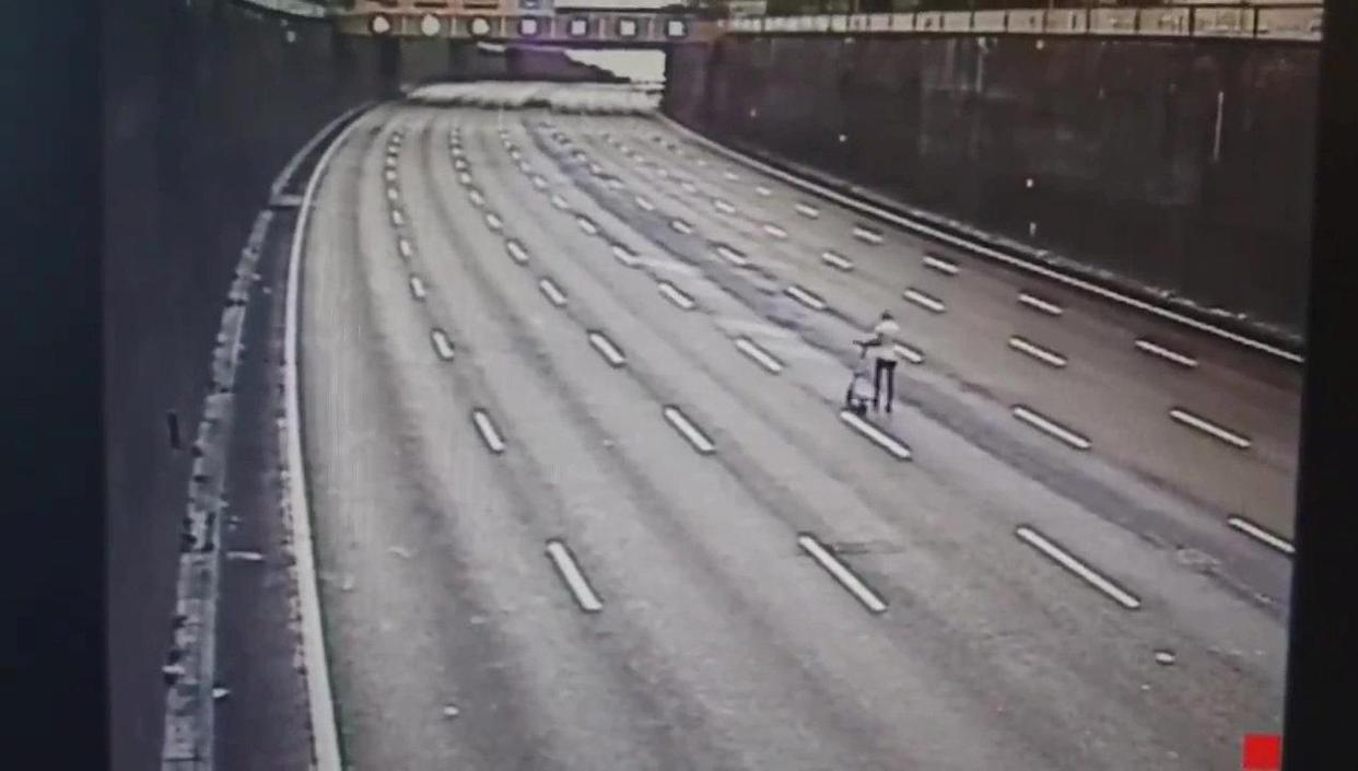 The man rode his e-scooter along the middle of the A38 Aston Express in Birmingham. (CMPG/SWNS)