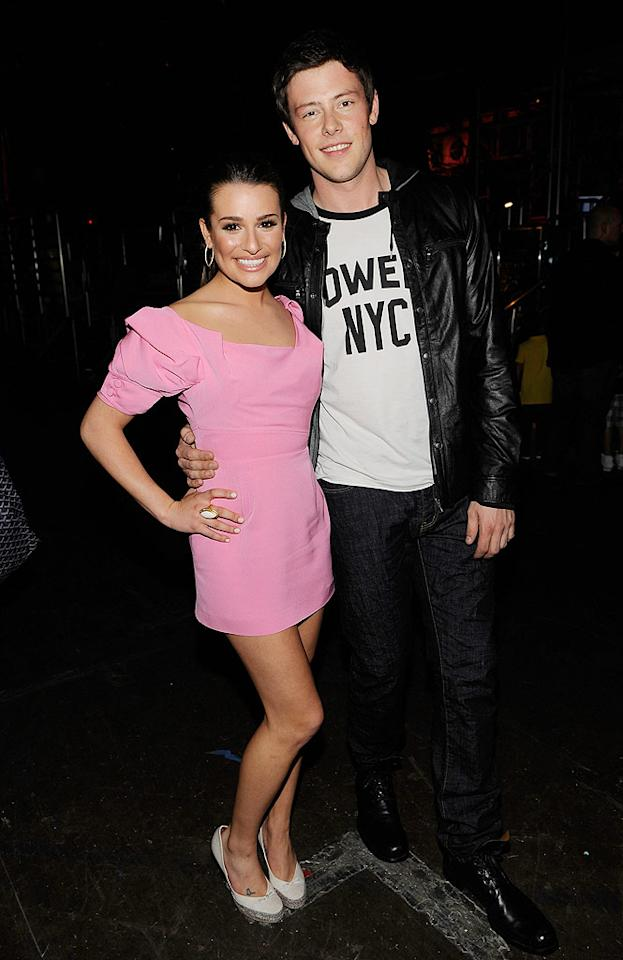 """""""Glee's"""" Lea Michele opted for a yummy bubblegum-pink Zac Posen masterpiece, while her cute co-star Cory Monteith kept it casual in jeans and a t-shirt from John Varvatos. Larry Busacca/<a href=""""http://www.gettyimages.com/"""" target=""""new"""">GettyImages.com</a> - March 27, 2010"""