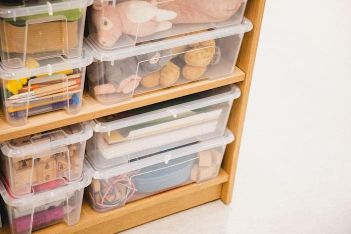 """<p>Once each item has a home, make sure that home is organized. """"First sort all items into categories, then select what you actually use and love, and then home the category using a right-sized container,"""" Fisher says. </p><p>For example, if your towels have a home in the hall closet, organize your towels by category, get rid of ones you don't use, and give each category a home within the closet. </p>"""
