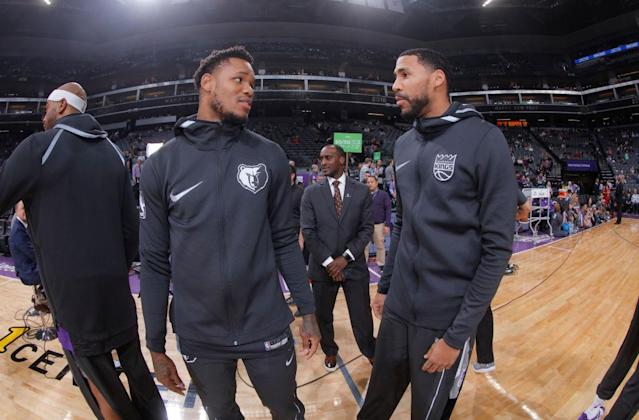 "Former teammates <a class=""link rapid-noclick-resp"" href=""/nba/players/5158/"" data-ylk=""slk:Ben McLemore"">Ben McLemore</a> and <a class=""link rapid-noclick-resp"" href=""/nba/players/4682/"" data-ylk=""slk:Garrett Temple"">Garrett Temple</a> will be trading places this season. (Getty)"