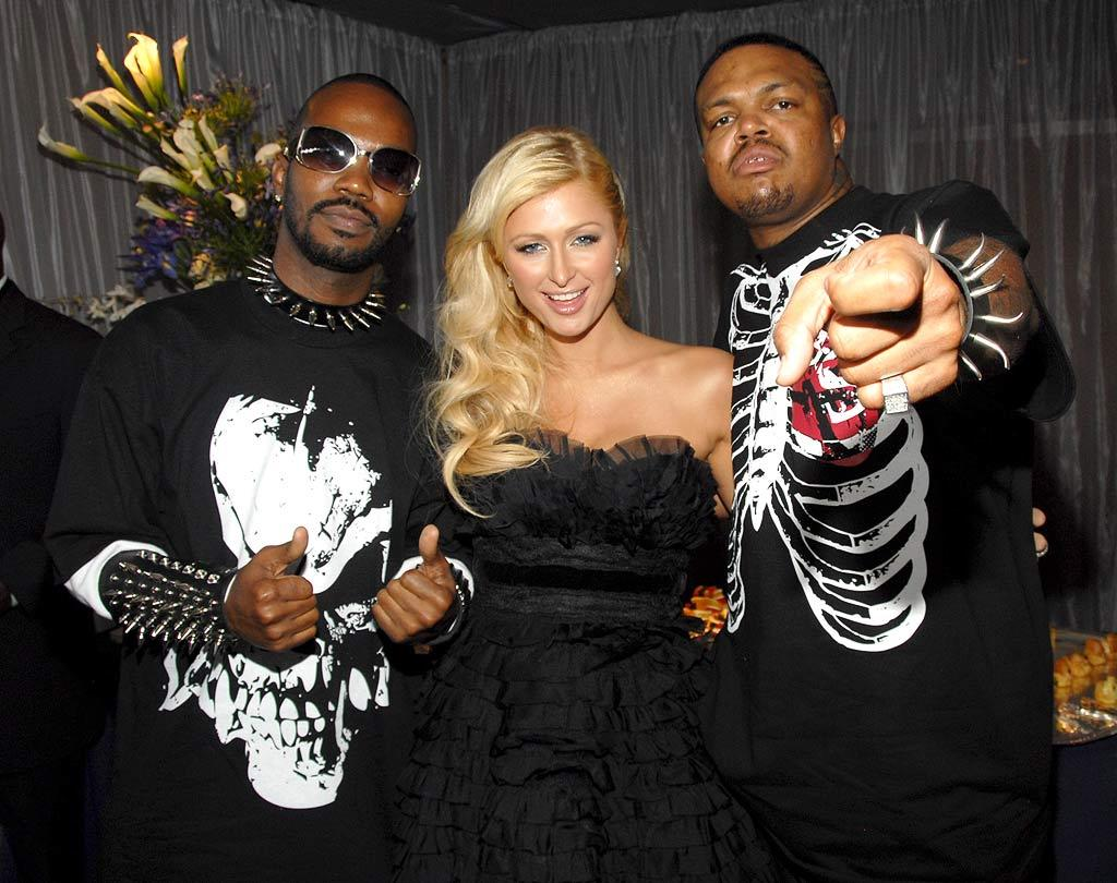 """Even after their Oscar win, Three 6 Mafia's Juicy J and DJ Paul still know how to party with Paris Hilton. Kevin Mazur/<a href=""""http://www.wireimage.com"""" target=""""new"""">WireImage.com</a> - June 3, 2007"""
