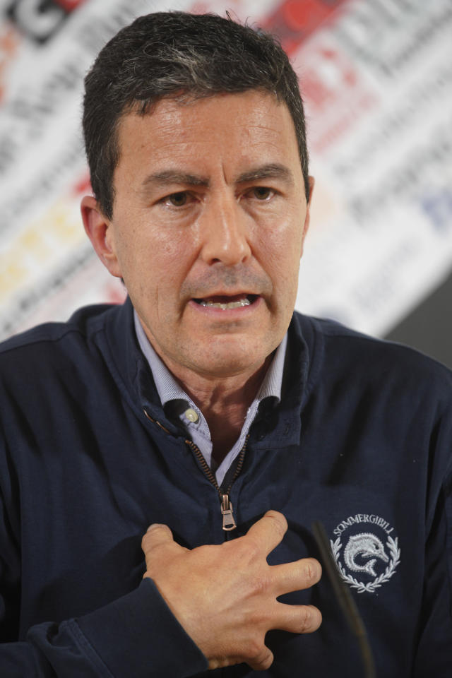 In this picture taken on May 8, 2019 Brothers of Italy party candidate for the upcoming EU elections, Caio Giulio Cesare Mussolini talks during a press conference at the Foreign Press association, in Rome. Mussolini's name remains part of the political discourse, first with lawmaker Alessandra Mussolini, Benito Mussolini's granddaughter who started out with a now defunct neo-fascist party, and now with his great-grandson, Caio Giulio Cesare Mussolini, who is running with the far-right Brothers of Italy party in the European elections. (AP Photo/Andrew Medichini)