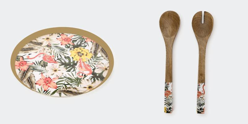 Other items in the collection include a tray and salad servers. Photo: Kmart