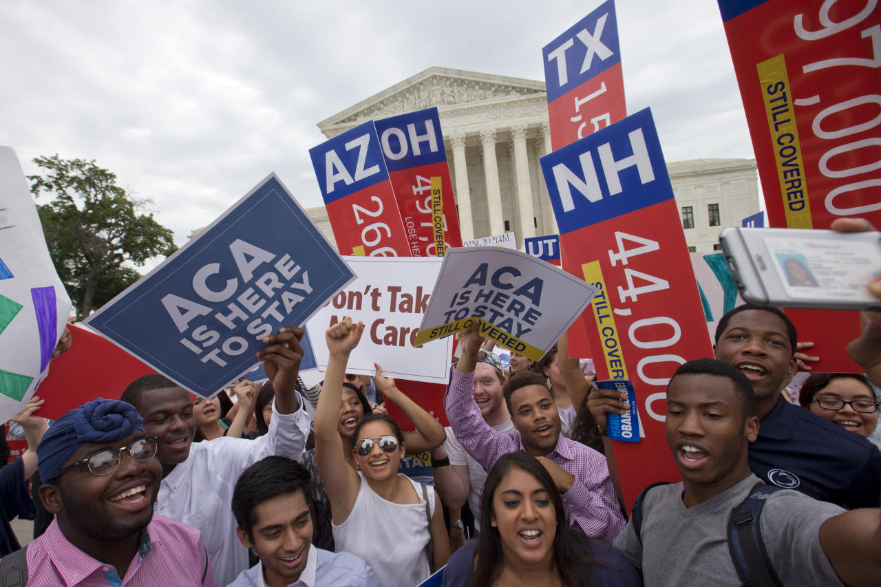 <p> FILE - In this June 25, 2015 file photo, participants take part in a health care rally outside of the Supreme Court in Washington. A growing number of Americans age 40 and older think Medicare should cover the costs of long-term care for older adults, according to a poll conducted by the Associated Press-NORC Center for Public Affairs Research. (AP Photo/Jacquelyn Martin, File) </p>