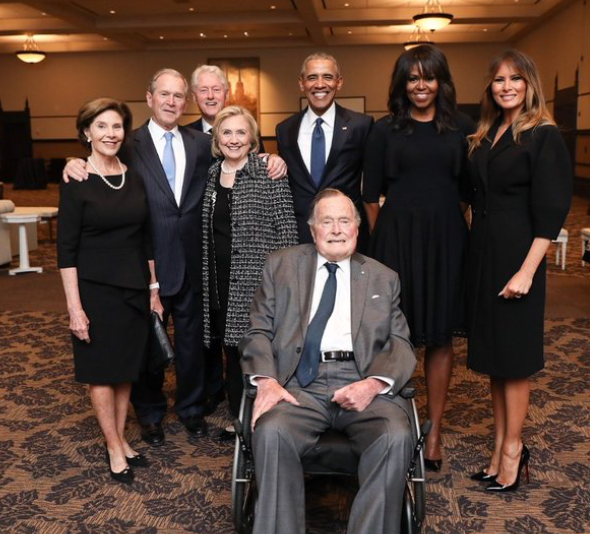 George H.W. Bush, seated, with Laura Bush, George W. Bush, Bill Clinton, Hillary Clinton, Barack Obama, Michelle Obama, and Melania Trump. (Photo: @PaulMorsePhoto – Office of George H. W. Bush)