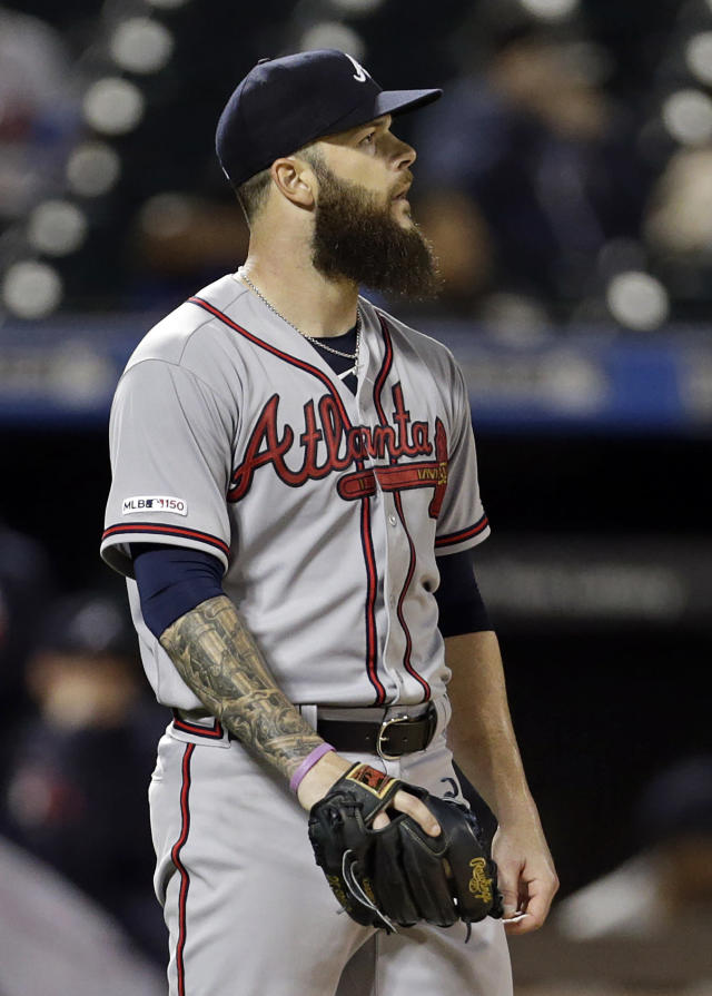 Atlanta Braves pitcher Dallas Keuchel reacts after giving up a two-run home run during the fourth inning of a baseball game against the New York Mets, Friday, Sept. 27, 2019, in New York. (AP Photo/Adam Hunger)