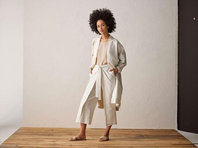 A model wearing items from Eileen Fisher's Resewn collection. (Photo: Courtesy of Eileen Fisher)