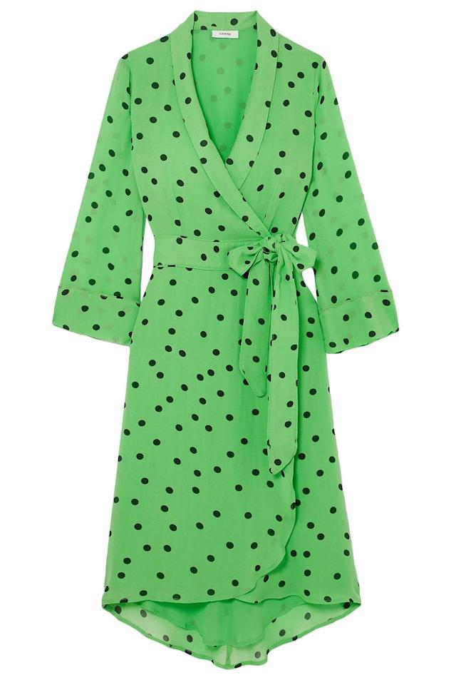 """<p>Polka Dot Wrap Dress</p><p><em>theoutnet.com</em></p><p>$48</p><p><a class=""""body-btn-link"""" href=""""https://go.redirectingat.com?id=74968X1596630&url=https%3A%2F%2Fwww.theoutnet.com%2Fen-us%2Fshop%2Fproduct%2Fganni%2Fdresses%2Fknee-length-dress%2Fpolka-dot-georgette-wrap-dress%2F11813139151452268&sref=https%3A%2F%2Fwww.elle.com%2Ffashion%2Fshopping%2Fg31209857%2Four-top-picks-from-the-outnets-sale-will-make-your-day%2F"""" target=""""_blank"""">SHOP NOW</a></p>"""