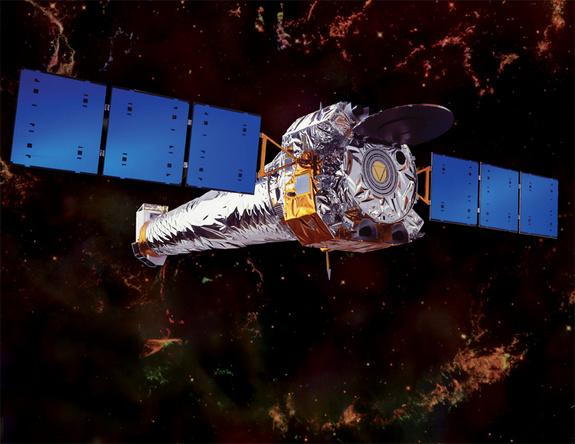 NASA's Chandra X-ray Observatory floats in space in this artist's concept. Image released August 15, 2012.