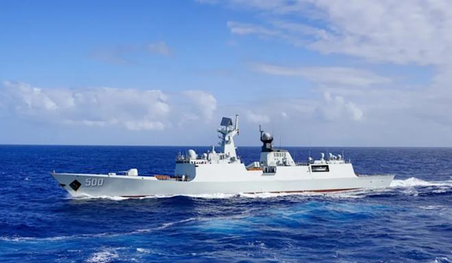The Chinese flotilla was led by a Type 052D destroyer. Photo: PLA Navy