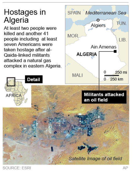 ALGERIA 2 011613: ADDS oil field satellite image; map locates Ain Amenas, Algeria where American hostages were taken