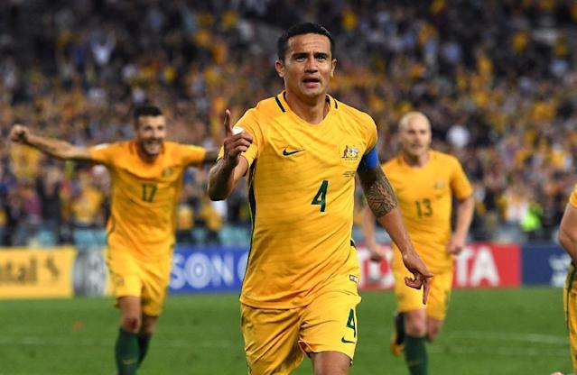 He's in: Tim Cahill, seen here celebrating his goal against Syria in the World Cup qualifying play-off last year (AFP Photo/WILLIAM WEST)