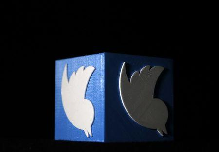 A 3D printed Twitter logo is seen in this illustration picture made in Zenica