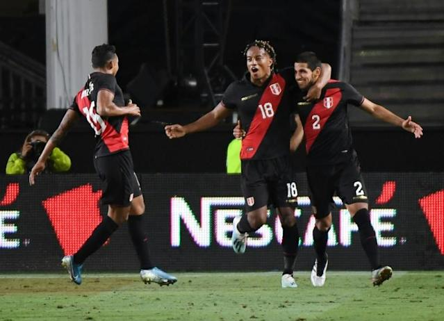 Peru's Luis Abram (2) celebrates his winner in a 1-0 victory over Brazil at the Los Angeles Memorial Coliseum (AFP Photo/Mark RALSTON)