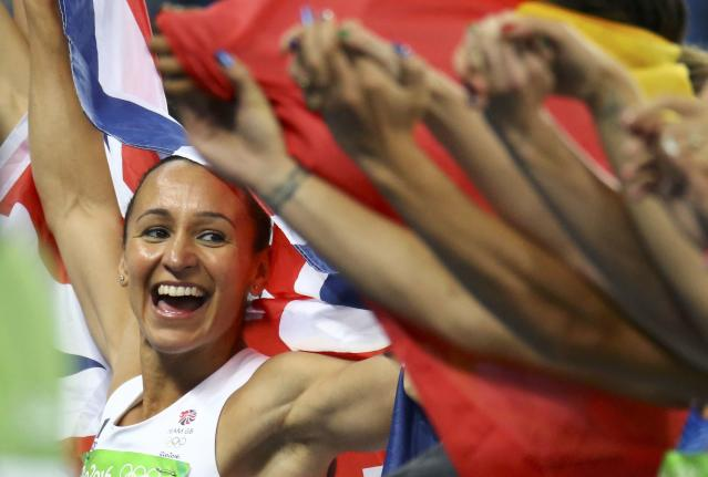 2016 Rio Olympics - Athletics - Final - Women's Heptathlon 800m - Olympic Stadium - Rio de Janeiro, Brazil - 13/08/2016. Jessica Ennis-Hill (GBR) of Britain celebrates her silver medal after the event. REUTERS/Ivan Alvarado FOR EDITORIAL USE ONLY. NOT FOR SALE FOR MARKETING OR ADVERTISING CAMPAIGNS.