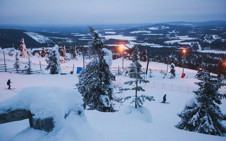 """<p><a rel=""""nofollow noopener"""" href=""""http://www.travelandleisure.com/trip-ideas/nature-travel/finland-when-to-see-northern-lights"""" target=""""_blank"""" data-ylk=""""slk:Finland"""" class=""""link rapid-noclick-resp"""">Finland</a>'s largest and most popular ski resort provides a great reason to come to almost 68° N, beyond the Arctic Circle. The most reliable month for both snow and Northern Lights, <a rel=""""nofollow noopener"""" href=""""http://www.levi.fi/en"""" target=""""_blank"""" data-ylk=""""slk:organized activities"""" class=""""link rapid-noclick-resp"""">organized activities</a> in the resort town in January include nightly snowmobile safaris, snowshoeing trip to Kätkätunturi fell, and a private dinner in a cottage equipped with a camera and tripod in case the aurora arrive.</p>"""