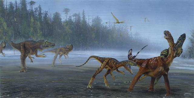 """Allosaurus jimmadseni, a """"remarkable"""" meat-eating dinosaur that roamed the North American flood plains 155 million years ago, has been officially recognised as a new species (PA)"""