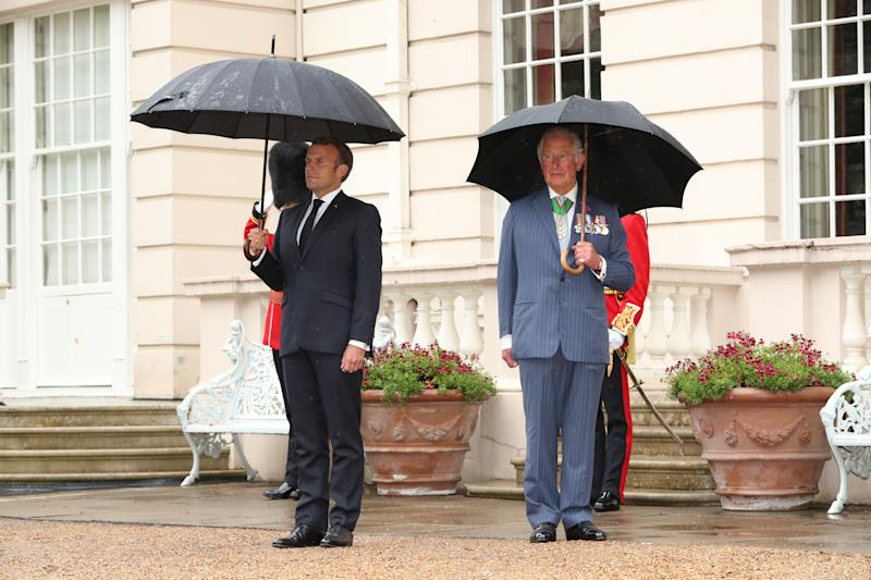 The Prince of Wales receives French president Emmanuel Macron to Clarence House in London during his visit to the UK.