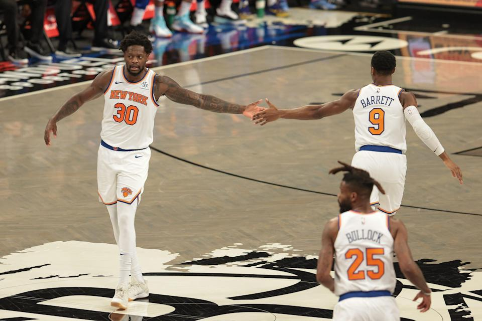 Julius Randle (30), RJ Barrett (9) and the Knicks have had a lot to celebrate this season.