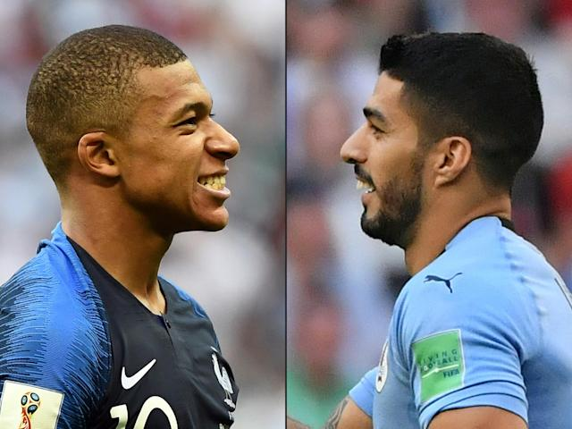 France's forward Kylian Mbappe (L) in Kazan on June 30, 2018, and Uruguay's forward Luis Suarez (R) in Samara on June 25, 2018. (Getty Images)