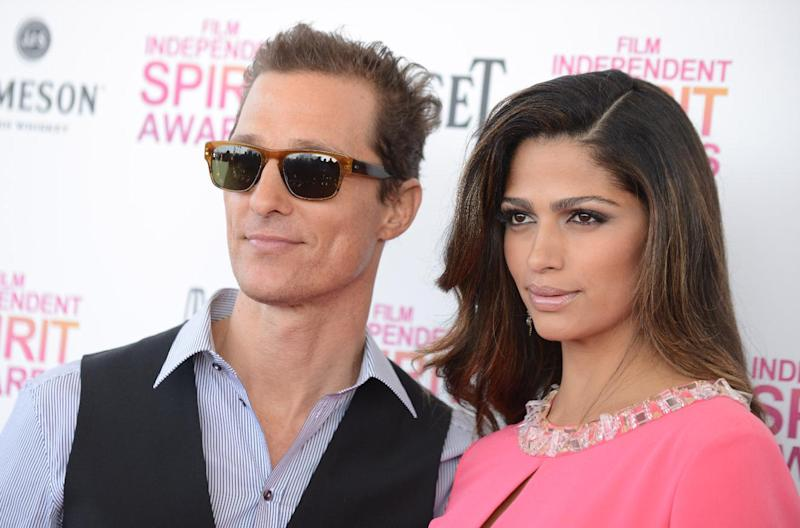 Actor Matthew McConaughey, left, and Camila Alves arrive at the Independent Spirit Awards on Saturday, Feb. 23, 2013, in Santa Monica, Calif. (Photo by Jordan Strauss/Invision/AP)
