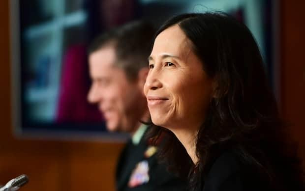 Chief Public Health Officer Dr. Theresa Tam and Maj.-Gen. Dany Fortin provide an update on the COVID-19 pandemic in Ottawa. (Sean Kilpatrick/Canadian Press - image credit)
