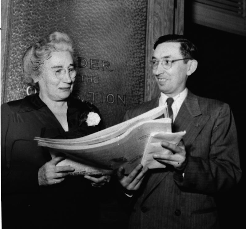 Ontario MPPs Agnes MacPhail and Eamon Park. (Photo: The Canadian Press)