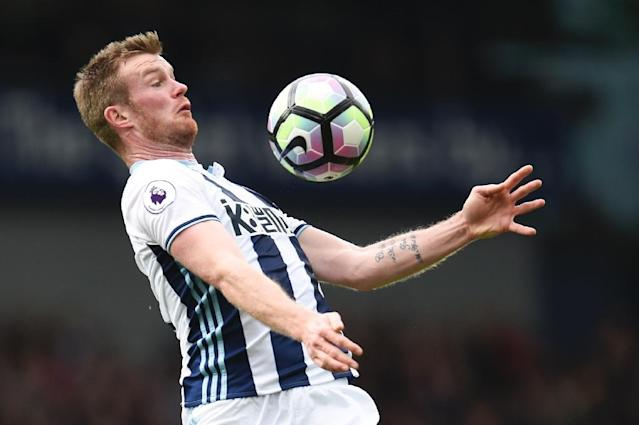 The Baggies' hope of an immediate return to the top-flight were dented when captain Chris Brunt (pictured May 2017) was sent-off 10 minutes from the end of normal time (AFP Photo/Oli SCARFF )
