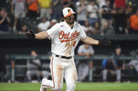 Baltimore Orioles' Ryan McKenna reacts to a bases-loaded walk which drove in Cedric Mullins for the winning run in the ninth inning against the Miami Marlins in a baseball game Wednesday, July 28, 2021, in Baltimore. (AP Photo/Terrance Williams)
