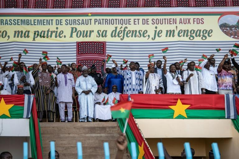 Traditional, religious and political leaders attend a rally to support the security forces, known by their initials in French as the FDS, in the capital Ouagadougou last October