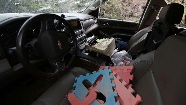 PHOTO: Foam floor puzzle pieces seen inside a bullet-riddled a vehicle that members of LeBaron family were traveling in, sits parked on a dirt road near Bavispe, at the Sonora-Chihuahua border, Mexico, Wednesday, Nov 6, 2019. (Christian Chavez/AP)