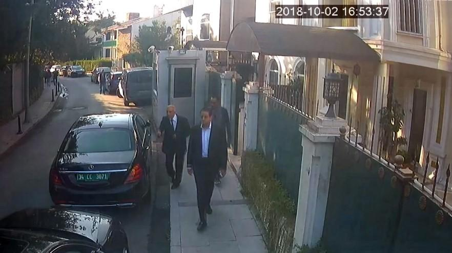 A footage captured from security camera shows Intelligent officer Maher Abdulaziz M. Mutreb (wearing suit and white shirt), member of 15-man execution team is seen leaving at the residence of Saudi Arabia's Consulate in Istanbul, Turkey on October 2, 2018 after carrying out the killing of journalist Jamal Khashoggi. (Istanbul Police Department / Handout/Anadolu Agency/Getty Images)