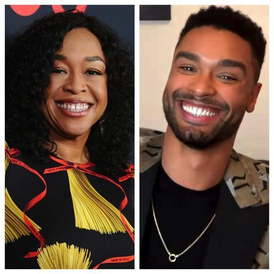 Shonda Rhimes and Rege-Jean Page in a photo diptych. Credit: Jason LaVeris / FilmMagic; Getty Images