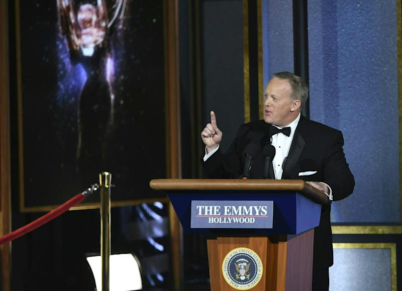 Former White House Press Secretary Sean Spicer speaks onstage during the 69th Emmy Awards at the Microsoft Theatre on Sept. 17, 2017 in Los Angeles, California.