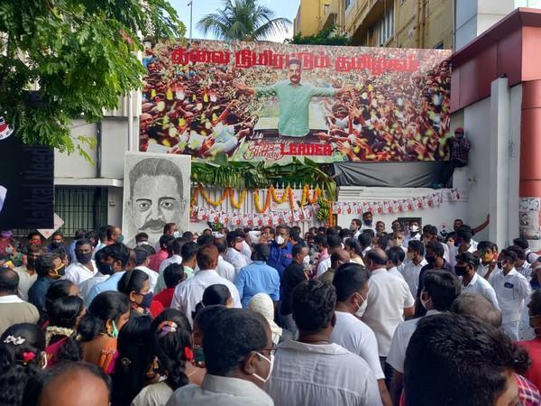MNM cadres outside party office in Chennai celebrating Kamal Haasan's birthday